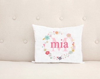 Unique Baby Gift, Birth Announcement, Personalized Baby Pillow, Floral Wreath