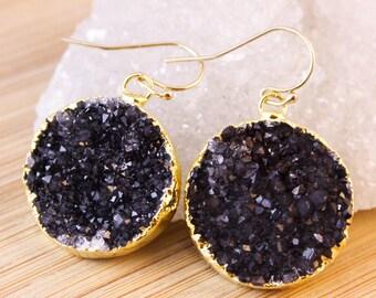 Gold Black Druzy Quartz Earrings - Medium Size - Dangle Earrings
