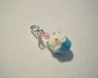 Silver CUPCAKE Pink Lampwork Glass Lobster Clasp Style CHARM for Bracelet