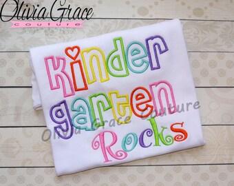 Kindergarten Rocks, 1st grade, preschool, Back to School Embroidered Shirt