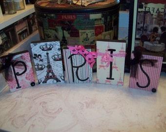 Pink Paris Letter Blocks,Paris Decor,Paris Theme,Paris Party Decor,shabby