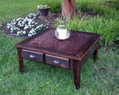 """Large Coffee Table, Tile Mosaic, """"Fire & Ice"""", Reclaimed Wood, Rustic Contemporary, Dark Brown Finish - Handmade"""