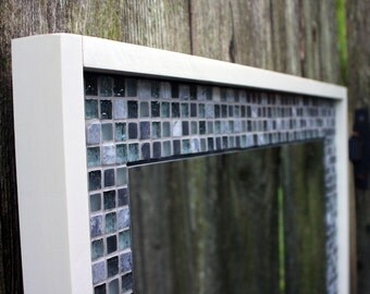"Glass Mosaic Tile Framed Mirror, ""Sea Breeze"", Glossy White, 30 x 30 - Handmade"