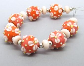 Floral Beads, Flower Beads, Flower Lampwork Beads, Floral Glass Beads, Lampwork Bead Set, UK, SRA, FHFteam