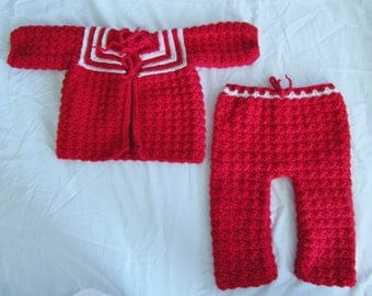 Sweater and Pants Set, Size 0-3 month, Baby Sweater and Pants, Christmas Outfit, Crocheted Baby Outfit