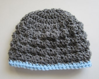 Baby Boy Hat, 3-6 Month Size, Crocheted Beanie, Gray and Blue
