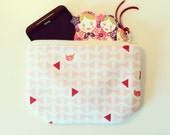 Cell Phone case many many mOre padded zipper Pouch with Pink Cat