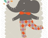 Fine art print illustration for nursery or kids room featuring an elephant - 8,2x11,7 in