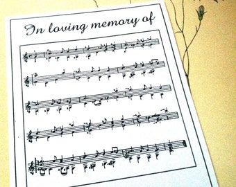 50 Personalized In Loving Memory Of Sheet of Music Ex Libris Bookplates