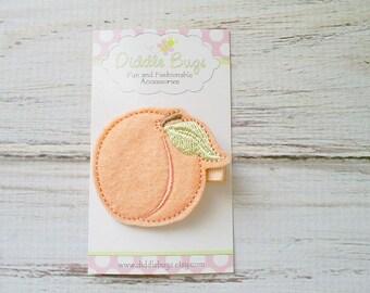 Peach Hair Clip, Peach With Leaf Hair Clip, Girls Peach Hair Clip, Peach Fruit Hair Clip, Summer Hair Clip, Felt Peach Hair Clip,