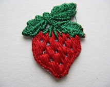 vintage strawberry patch 70s fruit iron-on red berry appliqué new old stock