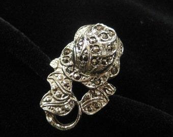 Marcasite Rose Ring in Cast Metal, Adjustable