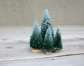 Vintage Forest Evergreen Trees Flocked Snow Covered Department 56 Christmas Decor Instant Collection Set Four