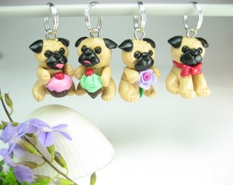 Cute Pug Knitting Stitch Markers Set of 4, pug charms, pug gift, pug life, dog gift, gift for knitters dog lover, knit knitting accessories
