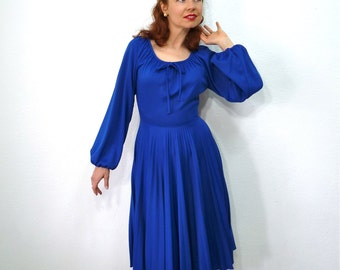 1960s dress Sapphire Dress Accordion Pleated Kate Middleton Dress Small