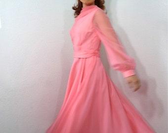 1950s Chiffon Dress Pink, Vintage 50s Parnes Feinstein Long Sleeve Full Skirt Formal Wedding Prom Party Dress