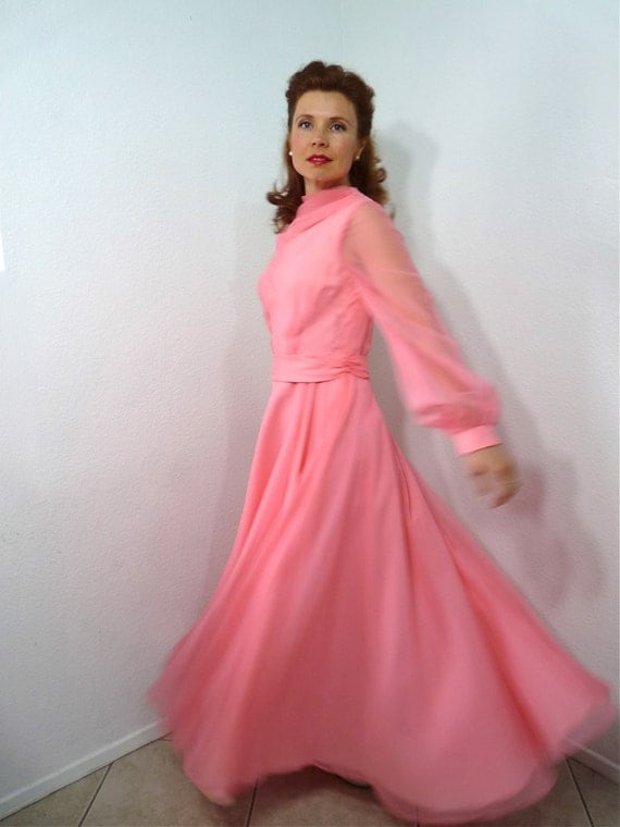 1950s Chiffon Dress Pink, Vintage 50s Parnes Feinstein Long Sleeve Full Skirt Formal Wedding Prom Party Dress