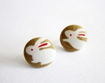 Button Earrings / Button Clip On Earrings - rabbit earrings