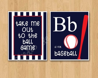 """PRINTABLE PDF Instant Download """"Take me out to the Ball Game"""" Boys Room/ Nursery Art"""