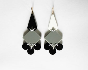 Reclaimed Acrylic Chandelier Earring 2/4 Gold Filled Black Grey Statement Eco Jewelry Sustainable Fashion Repurposed Reuse Upcycled Material
