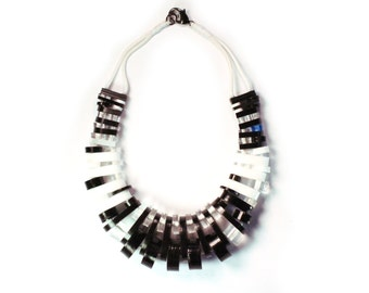Future Ruff No.10 Reclaimed Acrylic Necklace Clear Eco Sustainable Jewelry Upcycled Statement Collar