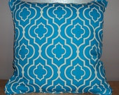 SALE 18x18 Bright Blue and White Moroccan Lattice Fretwork Decorative Pillow Cover - WAS 35.00 NOW 15.00
