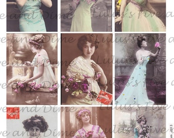 Instant Download - Edwardian Ladies - ATC 2.5 x 3.5 Size