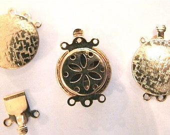6 Vintage Clasps // Muted Gold Push CLASPS //  Triple Strand Style // New Old Stock