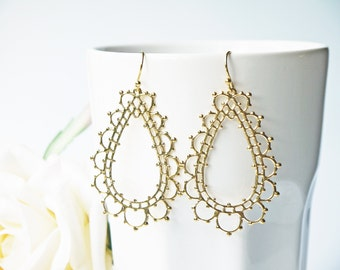 Gold Lace Earrings Titanium And Gold Simple Scallop Edge Filigree Earrings