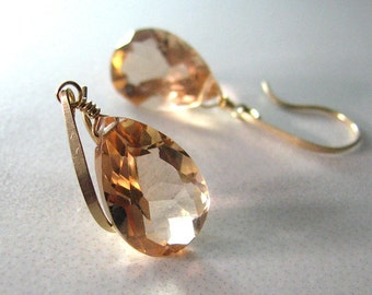 Apricot Earrings, Sparkly Peach Quartz Earrings, Gold Earrings, Pale Peach, Champagne Apricot Quartz AAA  - A Bit of the Bubbly
