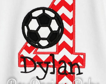 Soccer Birthday Shirt, Soccer Ball Number, Monogrammed, Custom Fabrics, Colors, and Font, Girls or Boys Birthday Shirt