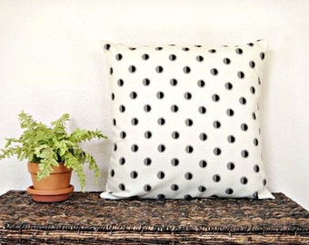 Polka Dot Pillow Cover Cushion Black Taupe Beige Geometric Modern Decorative 18x18
