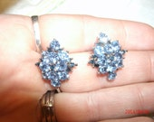 Upcycled Radiant Sky Blue Bevel Cut Rhinestones WITH Deep Blue Faux Sapphire Earmings