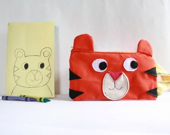 Tiger Pencil Case Set with crayons and notebook/ zipper pouch/ kids pencil case Set