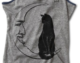 MOON CAT shirt tank top womens witch magic moonlight starry night  S M L XL skip n whistle