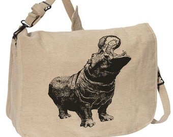 HIPPO BAG -- Canvas messenger bag -- large field bag -- adjustable strap