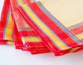 Vintage Linen Napkins - Primary + Neutral Colors Set of 5
