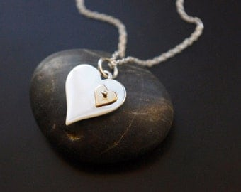 Mother Daughter Jewelry, Perfect Sentimental Gift to Your Daughter, Two Heart Necklace, Double Heart Necklace,Gold and Silver Heart Necklace
