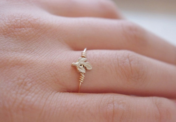 Minimalist Ring Handmade by Sarah of Sweden, Gold Filled Ring Gold Plated Leaf, Gift Under 25, Gifts For Her, Gifts For Women
