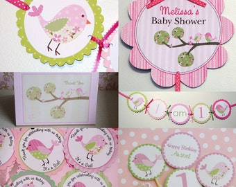 Pink Bird Birthday Party Package Pink and Green Theme Invites Thank Yous Favor Tags Cupcake Toppers Banners Door Sign