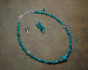 Natural American Turquoise Gemstone Chips,.925 Silver Necklace and Earrings