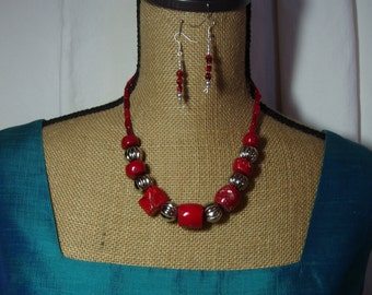 AAA  Red Coral Branch Slices,.925 Silver Necklace and Earrings