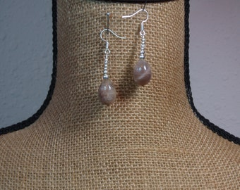 Natural Labradite Gemstones,.925 Silver Earrings