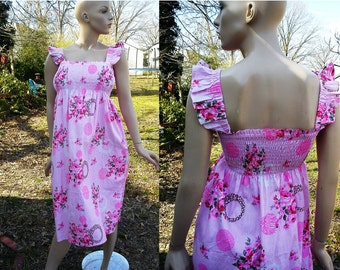 80s Sundress/ Vintage Dress/ Vintage Sundress/ 80s Dress/ Summer Dress in Pink Floral and Animal Print Size Medium
