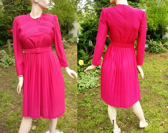 45% OFF 70s Cocktail Dress in Cranberry, Vintage Dress by Cathy Sue, Secretary Dress, Vintage Cocktail Dress by Cathy Sue with Pleated Skirt