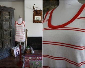 70s red and white stripe threadbare unisex tank