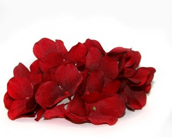 1 Small Deep Rich Red Hydrangea Bunch - Artificial Flowers, Blossoms, Silk Flowers PRE-ORDER