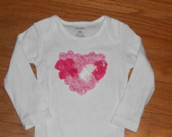 Valentines pink and white  shabby chiffon heart Onesie newborn-toddler-girls