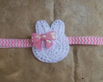 Easter Pink white  bunny chiffon chevron headband  sequin bow  infant toddler headband