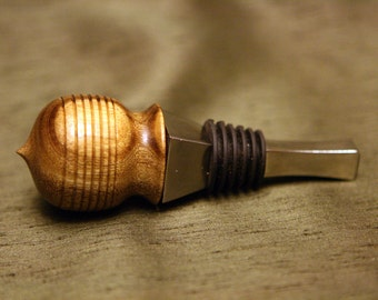 Oregon Myrtle bottle stopper - crafted by Chris Keel (hand turned)